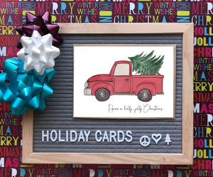 Holly Jolly Christmas- Classic Red Truck w/ Tree-A2 Holiday/ Christmas Greeting Card