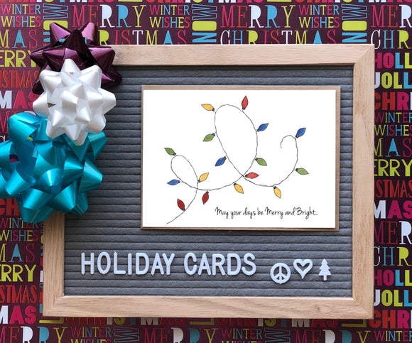 Holiday String of Lights- Merry and Bright-A2 Holiday/ Christmas Greeting Card