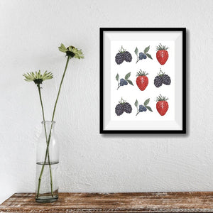Mixed Berries, Strawberry, Blackberry, Blueberry Art Print