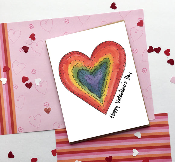 Rainbow Heart, Valentine's Day- A2 Greeting Card