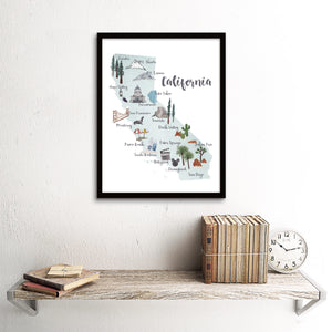 Retro California Picture Map with Landmarks Art Print