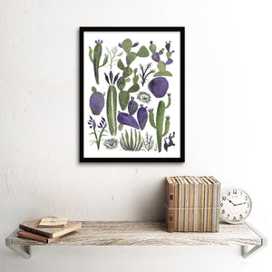 Mixed Cacti, Green & Purple Art Print