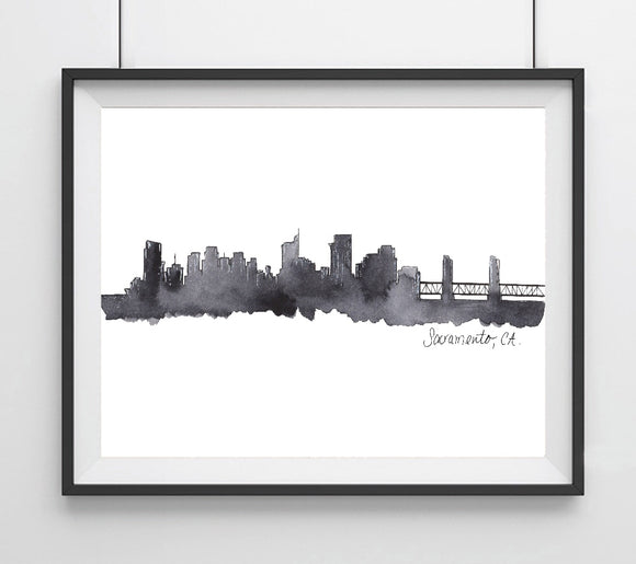 City Skyline, (Black)  Sacramento, CA Art Print