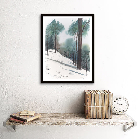 Hilltop with Snow and Long Shadows Art Print