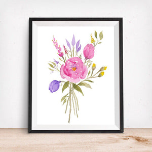 Floral Rose Bouquet- Lavender and Fuschia- Art Print
