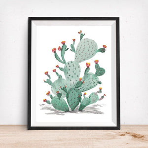 Cacti in Bloom- Southwest Colors-Art Print