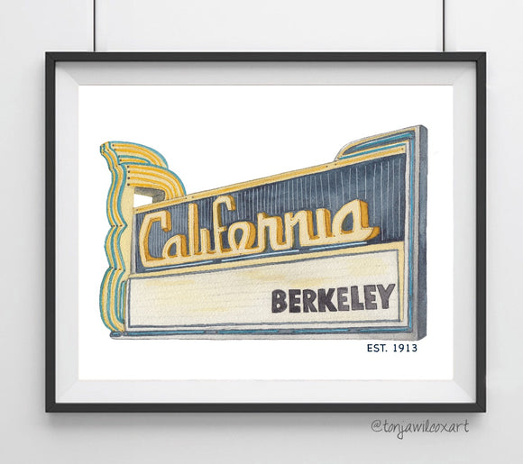 California Landmark Theater, Berkeley, Cal Bears CA Art Giclee Print