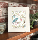 Winter Holiday Eastern Blue Bird with Ornaments and Greenery Flowers Giclee Art Print