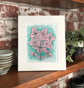 "NEW Callisia Pink Lady 11 x 14"" Original Watercolor Painting- Pink & Green Mini Houseplant Collection"