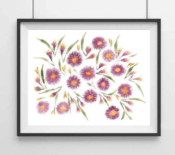Floral Aster Purple Flowers Giclee Art Print
