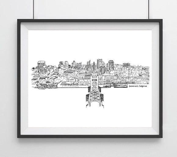 Black & White 3D Skyline Line drawing, Sacramento, CA Art Giclee Print