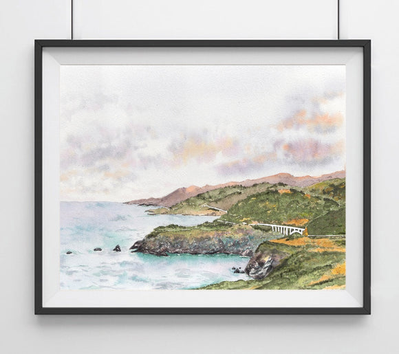 Big Sur, California Coastline- Bixby Bridge CA Landmark Art Print