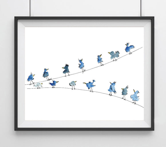 Blue Birds on a Wire- Illustrated Doodle Birds Giclee Art Print