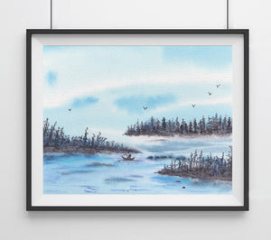 Blue Water Fishin Boat- Giclee Art Print