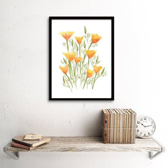 Poppy Patch- Orange California Poppies - Art Print