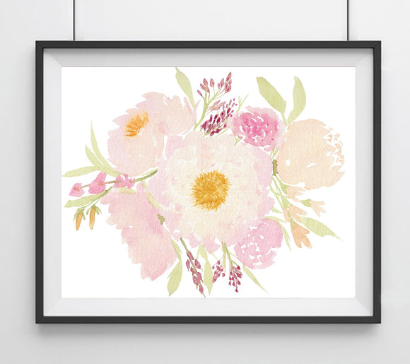 Floral #4 Pink & Blush Peonies Flowers Giclee Art Print