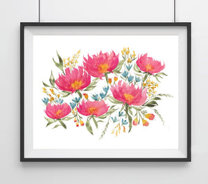 Floral No. 3, Bright Pink Loose Flowers- Giclee Art Print
