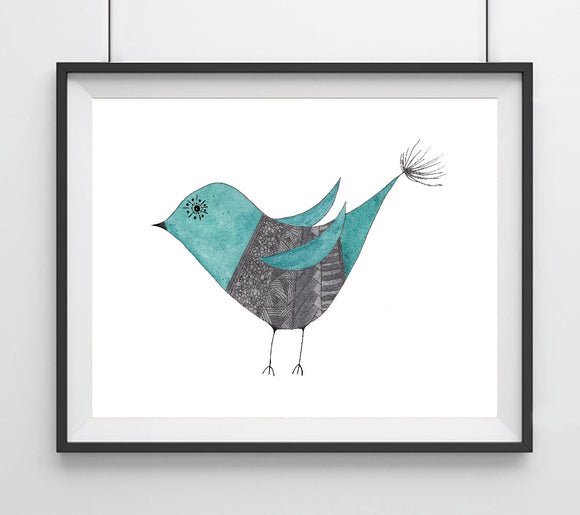 Mid Mod Blue Bird- Giclee Art Print