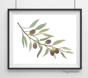 Olive Branch Purple- Giclee Art Print- Botanical Food Illustration