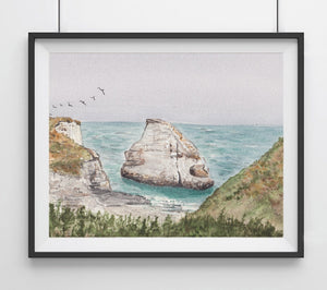 Shark Fin Cove, Santa Cruz, CA California Landmark Art Print