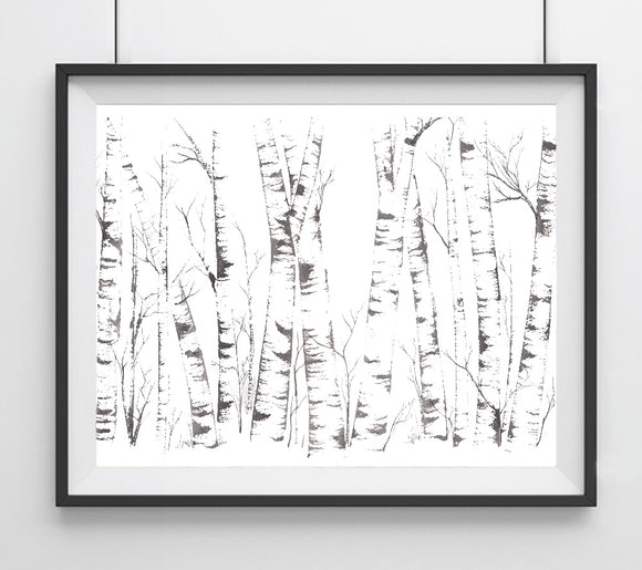 Sliver Birch Silhouette Trees Forest Giclée Art Print