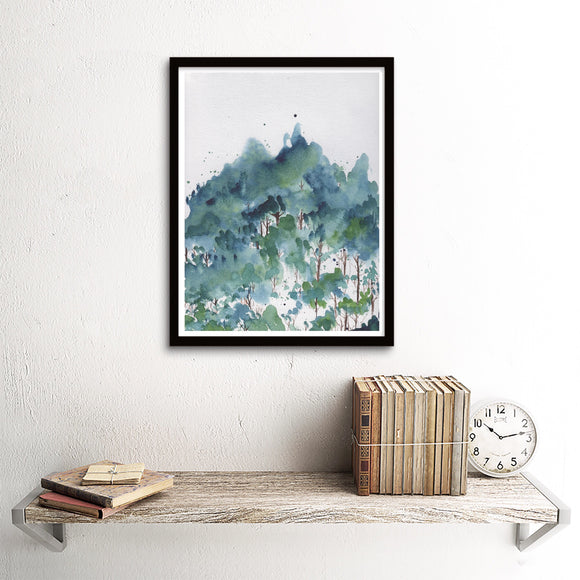 Teal Wintery Forest Hillside- Giclee Art Print