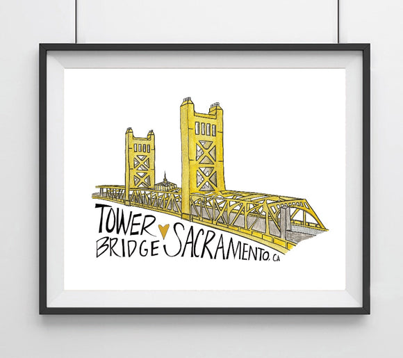Tower Bridge, Sacramento, CA Art Print