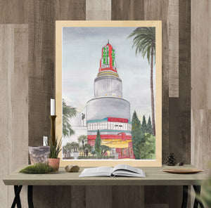 Tower Theater at Dusk with Neon lights-Sacramento, CA Art Print