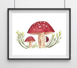 Red Spotted Mushrooms with Lady Bug Art Print