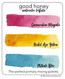 Watercolor Trifecta Limited Primary Palette - Good Honey Handmade Artisan Watercolor Paint- Magenta, Phthalo, Azo Pure Pigment