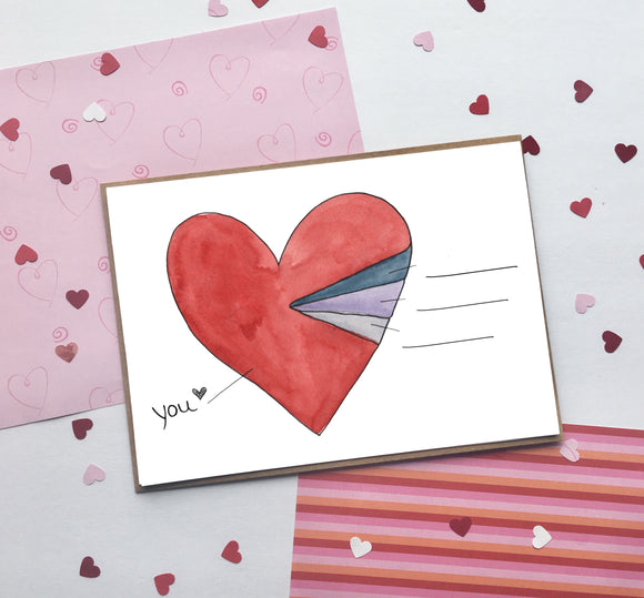Fill in Pie Heart, Valentine's Day- A2 Greeting Card