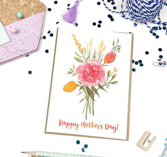 Mother's Day Vermilion Bouquet, A7 Greeting Card