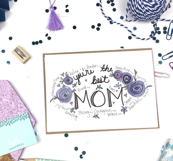 Mother's Day, Best Mom- A2 Greeting Card