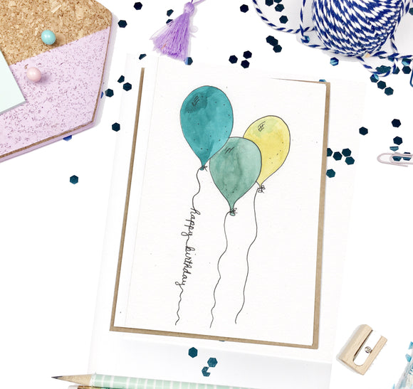 Happy Birthday, Balloon Trio- A2 Greeting Card