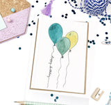 Happy Birthday, Balloon Trio- A7 Greeting Card