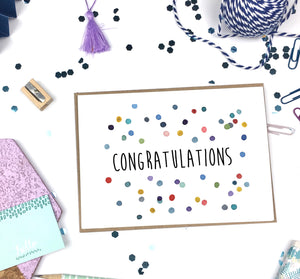 Congratulations, Colorful Dots- A2 Greeting Card