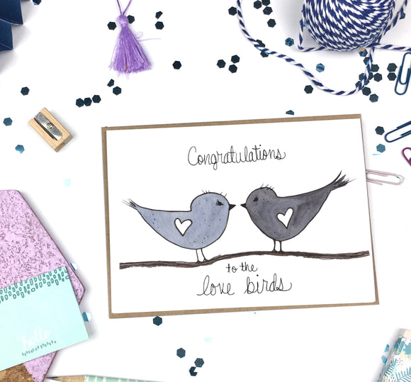 Congratulations Love Birds- A2 Greeting Card
