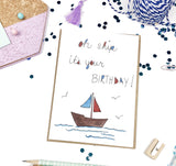 Birthday, Oh Ship- A2 Greeting Card