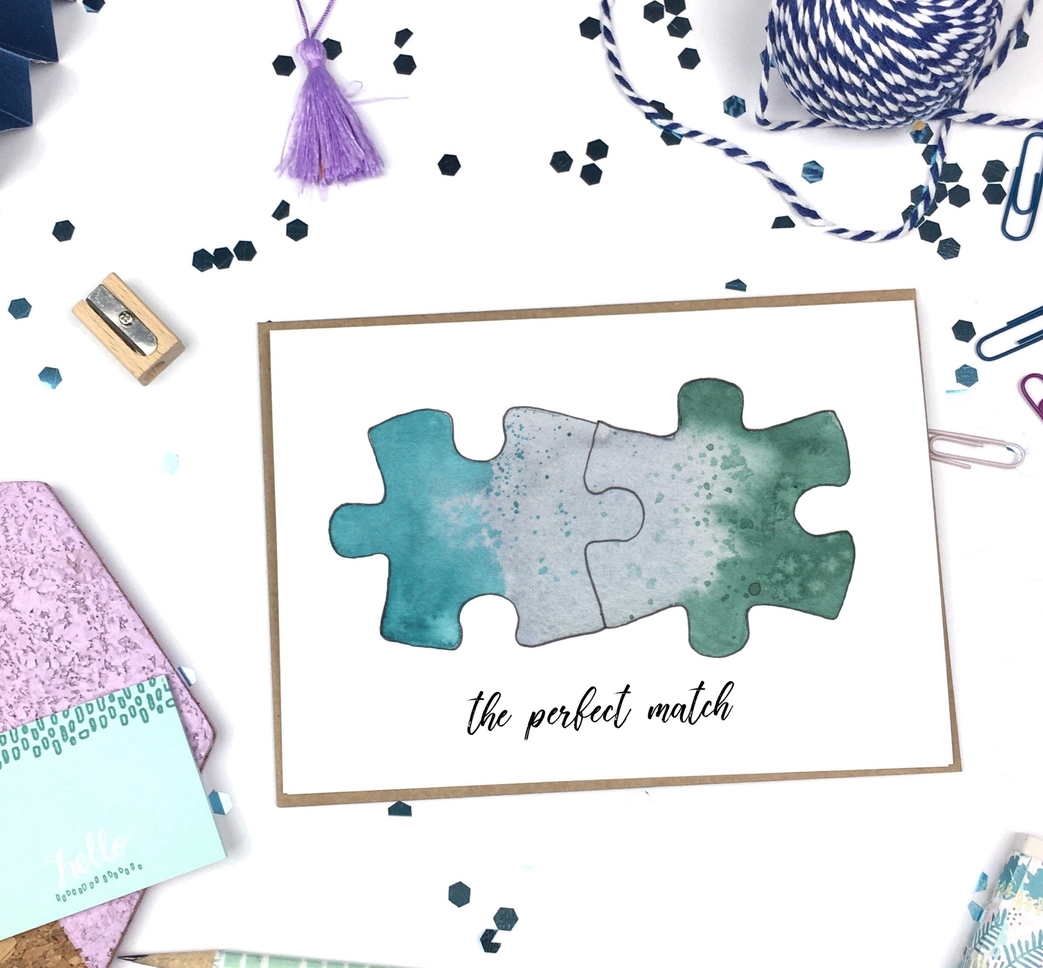 perfect match puzzle pieces a2 greeting card  tonja