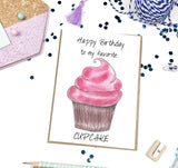 Happy Birthday, Pink Cupcake- A2 Greeting Card