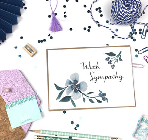 With Sympathy, Blue Florals- A2 Greeting Card