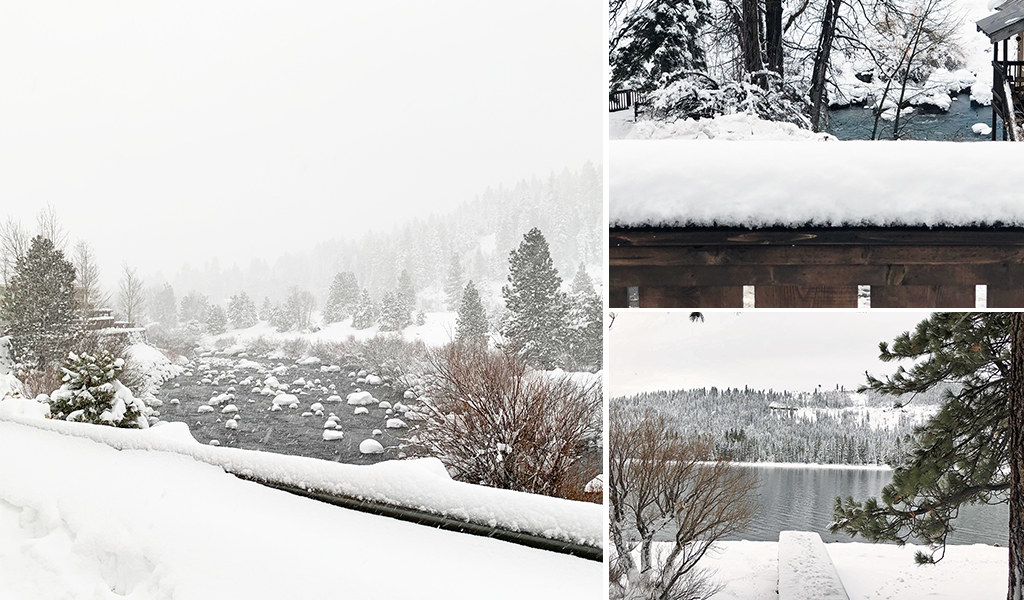 Truckee river and Donner lake in snow