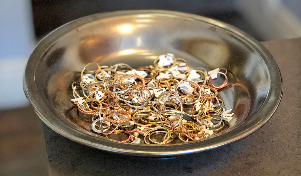 Gold jewelry rings at Tahoe University boutique shop