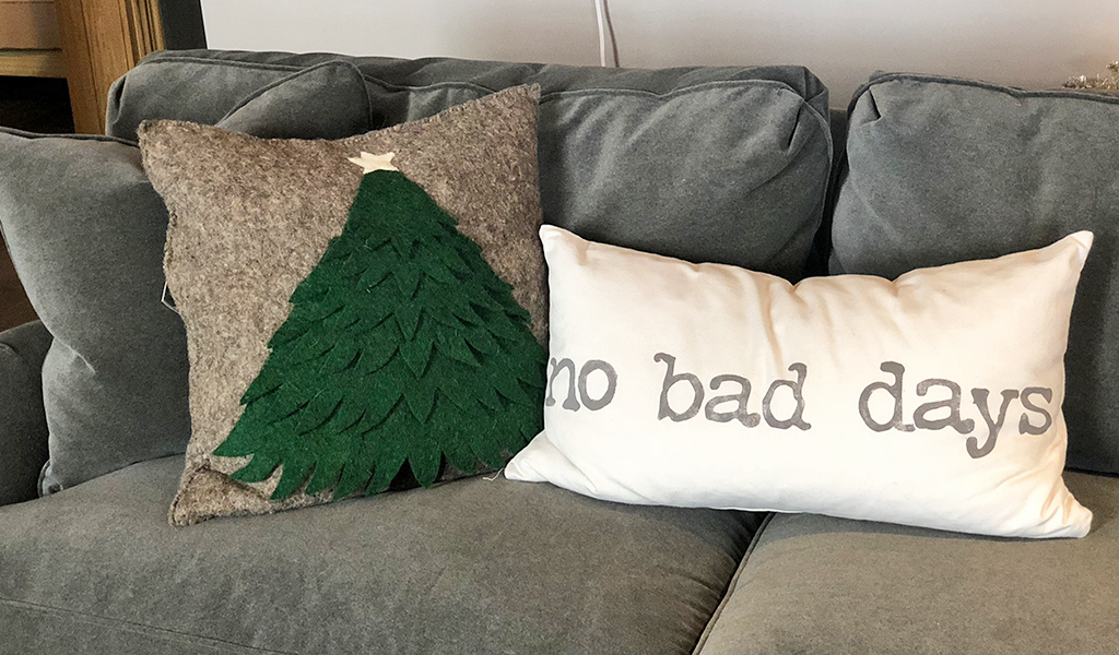 Felt Christmas tree pillow no bad days pillow home decor at Tahoe University boutique Truckee, CA