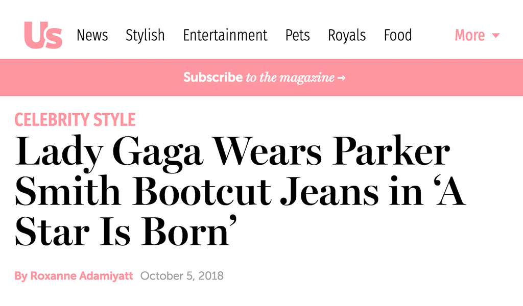 Us Weekly Lady Gaga Wears Parker Smith Jeans Tahoe University Blog
