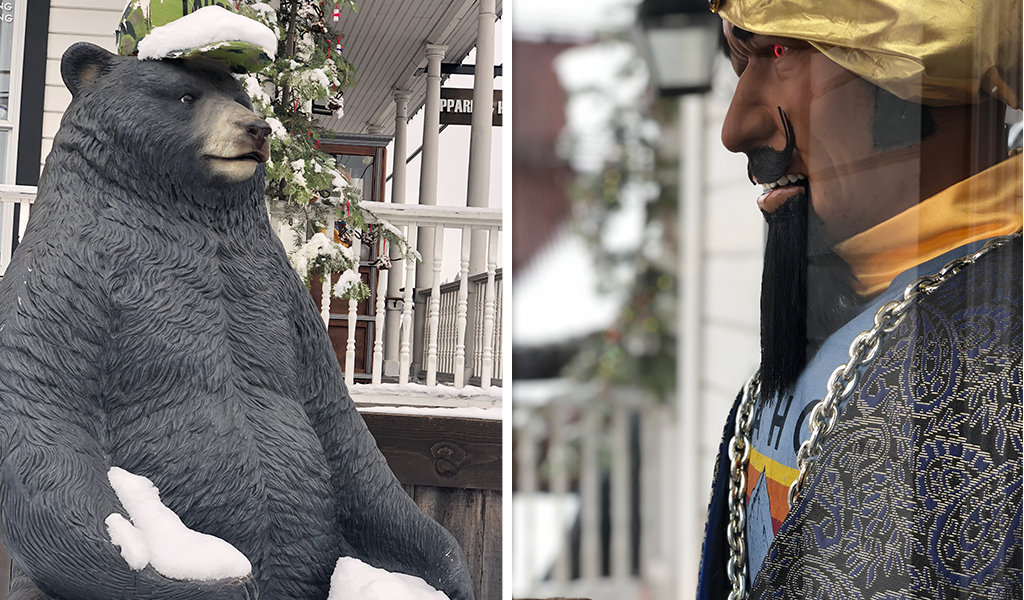 Bucky the Bear statue and Zoltar fortune teller at Tahoe University in Truckee, CA