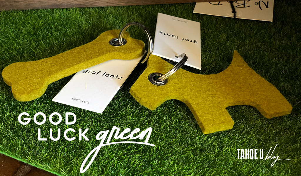 Text: Good luck green Tahoe U Blog image: Graf Lantz felt dog keychains at Tahoe University shop