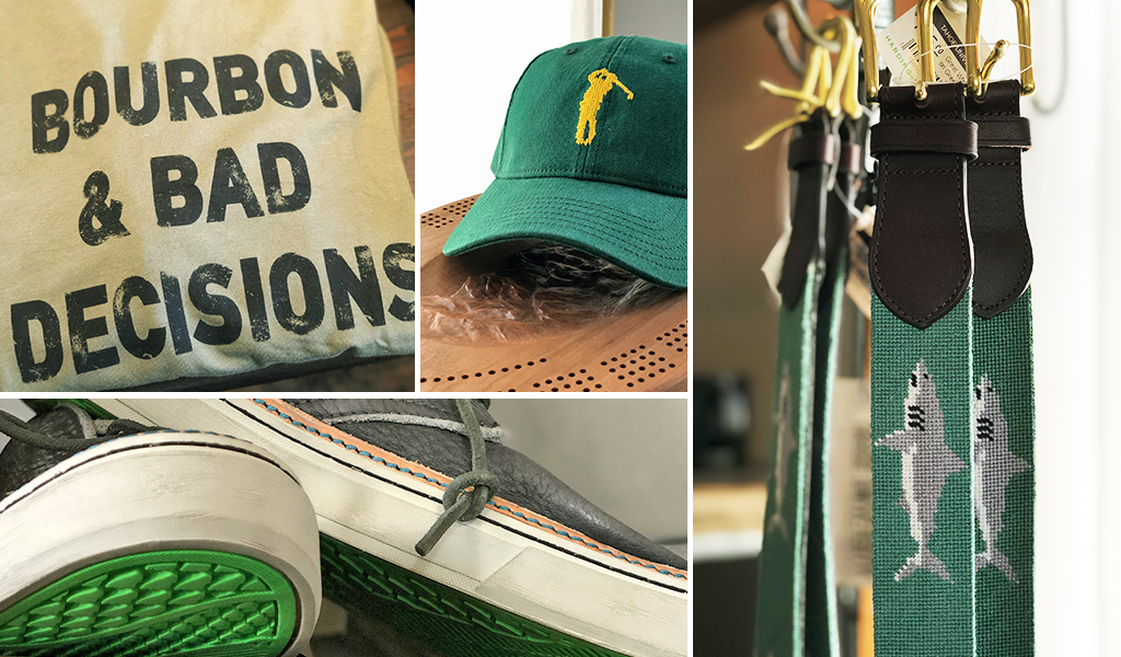 Green men's apparel and accessories at Tahoe University boutique