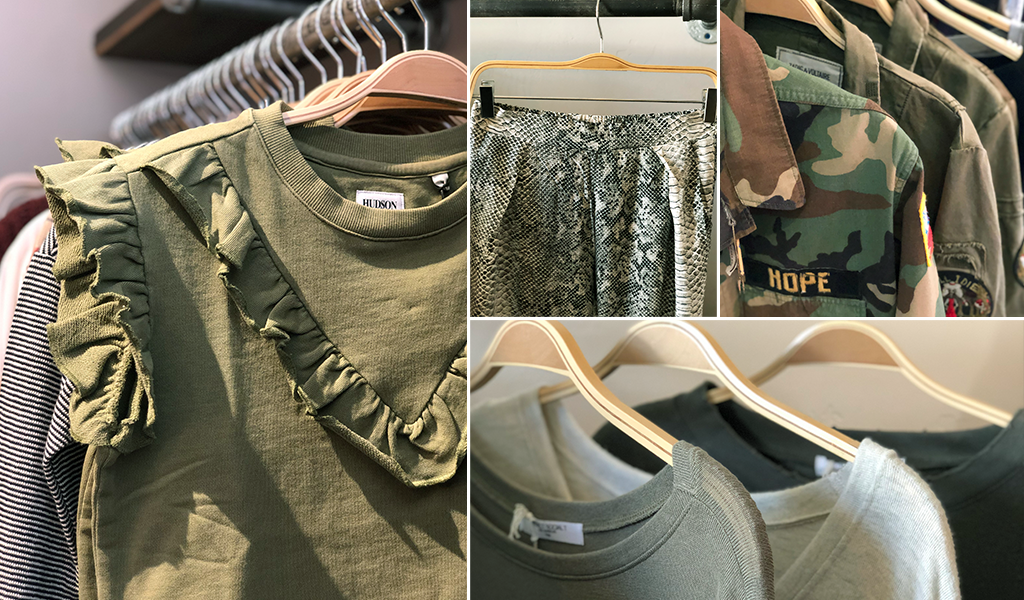 Green women's clothing and apparel at Tahoe University boutique