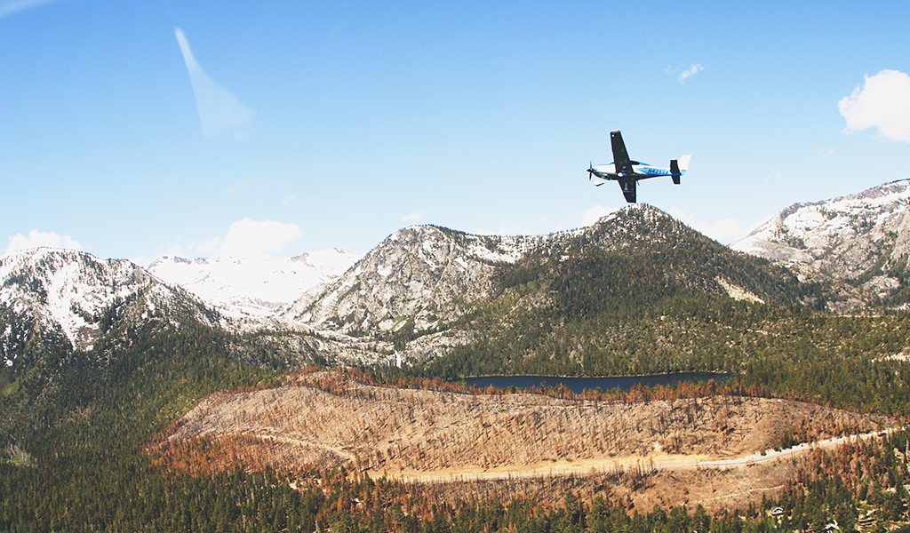 Mountain Lion Aviation flying over Tahoe